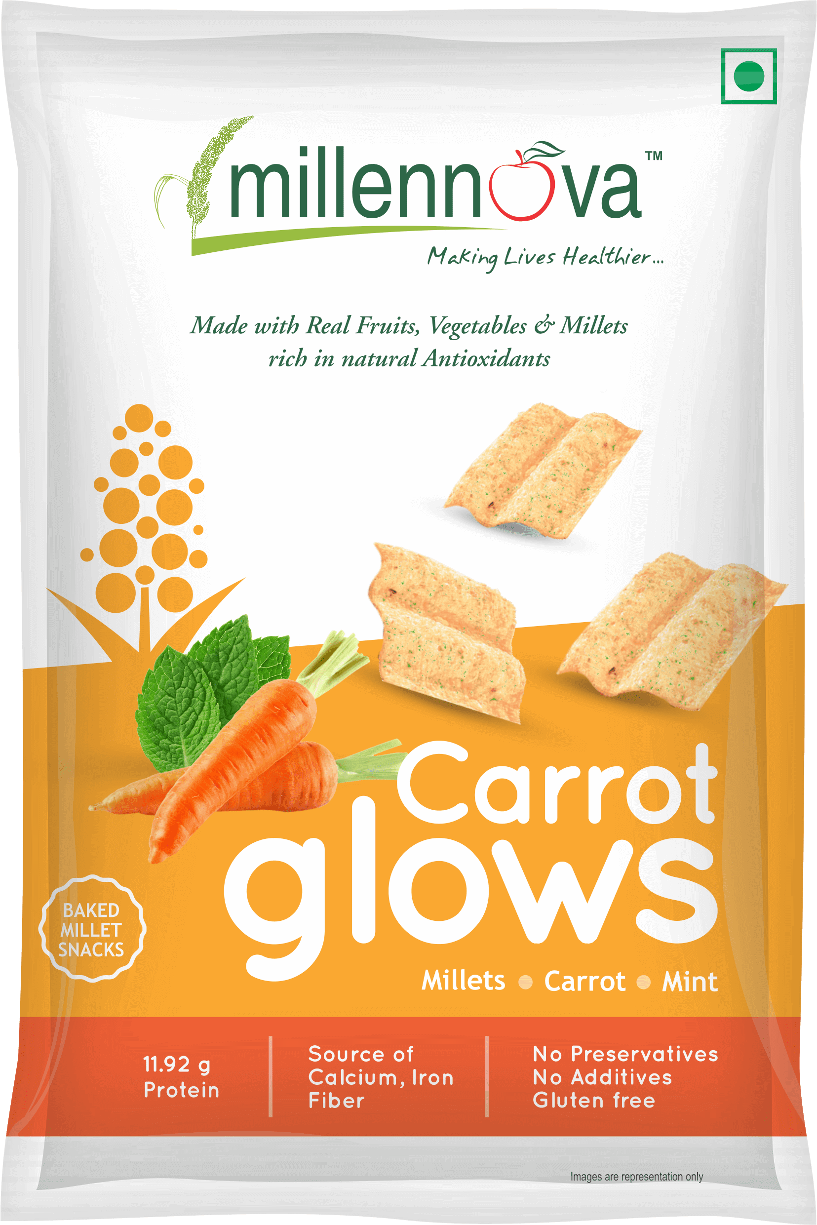 Carrot Glows – Made with Millets, Carrots, Mint & Pulses